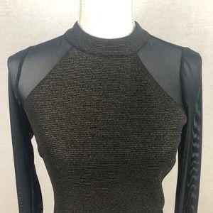 🔥 Material Girl Sheer Sleeve Crop Top Size M